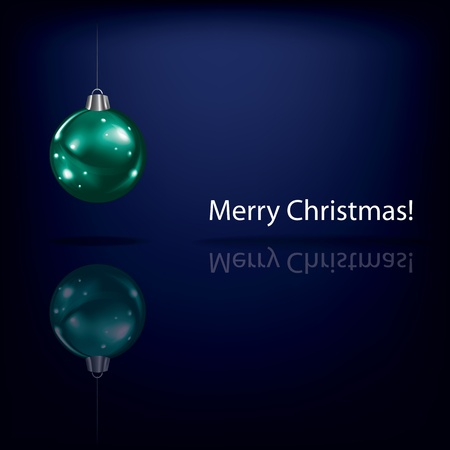Abstract Christmas greeting with decoration on blue background Vector