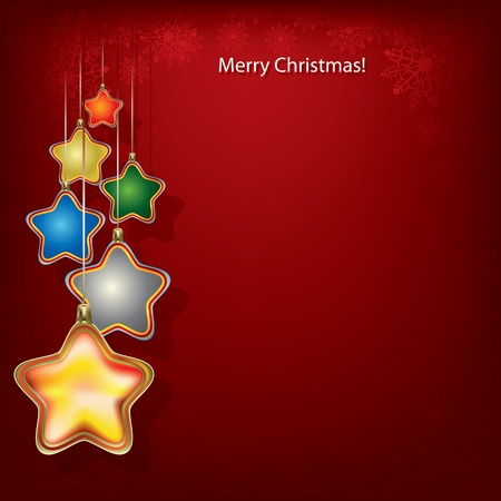 Abstract Christmas greeting with stars on red Vector