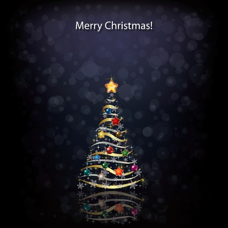 peaceful scene: Abstract Christmas greeting with tree on black Illustration
