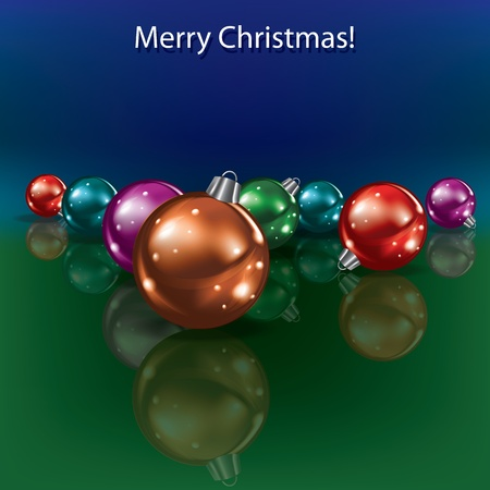 Cristmas greeting with decorations on blue green background Vector