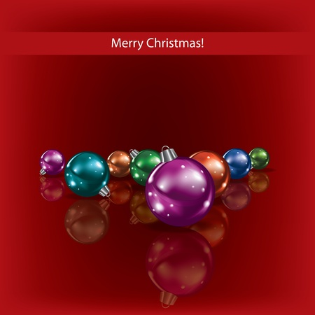 Cristmas greeting with decorations on red background Vector