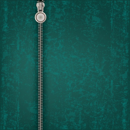 unzip: abstract green background with close steel zipper Illustration