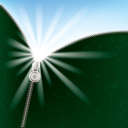 unzipping: abstract green background with sunlight and zipper Illustration