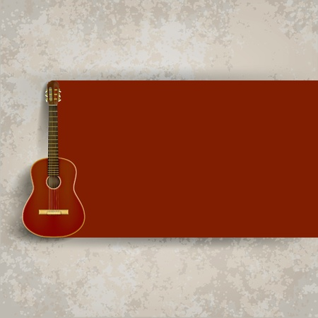 abstract grunge background with brown acoustic guitar Vector