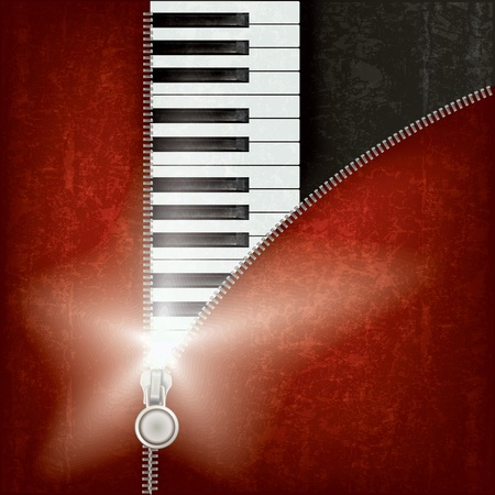 unzip: abstract music background with piano and zipper