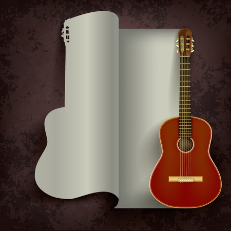ivory: acoustic guitar on abstract grunge black background Illustration