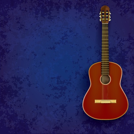 acoustic guitar on abstract grunge blue background Vector