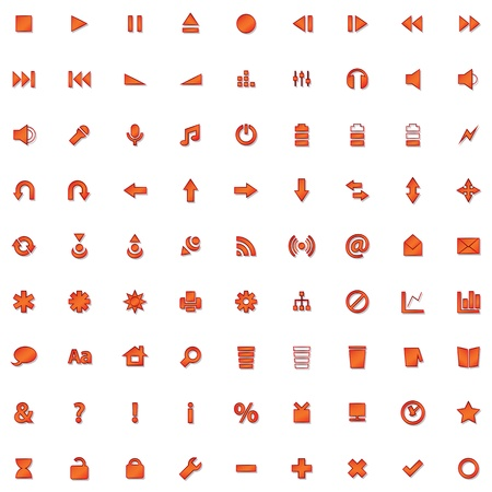 Internet and website red icon set isolated on white Illustration