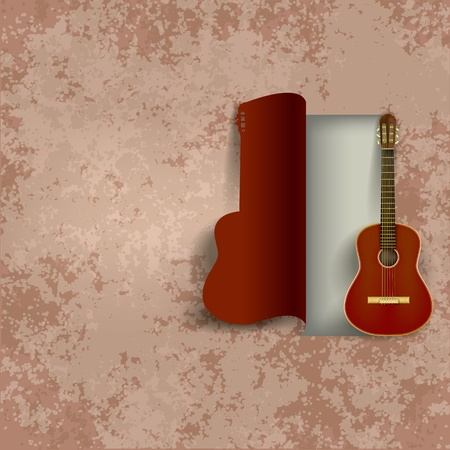 acoustic guitar on abstract grunge brown background Vector