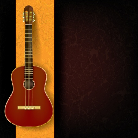 acoustic guitar on abstract grunge yellow background Illustration