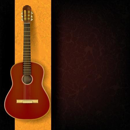 guitarra clásica: guitarra ac�stica en fondo amarillo abstracto del grunge