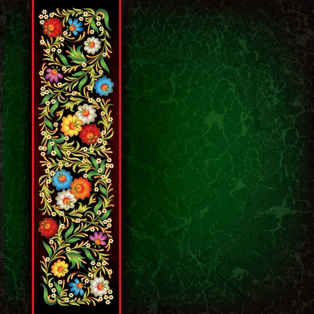 green grunge background: abctract floral ornament on green grunge background