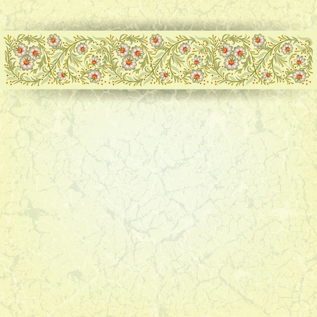 abctract floral ornament on grunge beige background