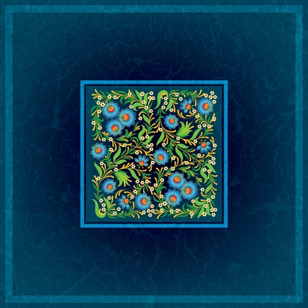 abctract floral ornament on grunge blue background Vector
