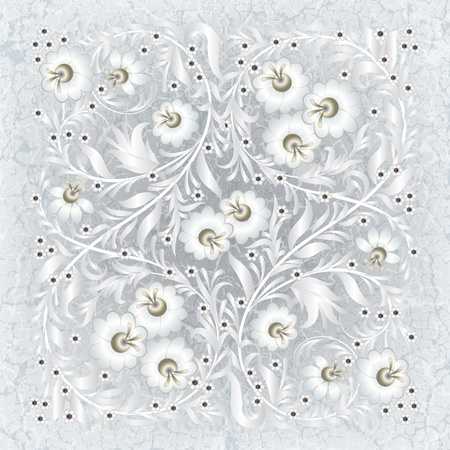 abctract floral ornament on white grunge background