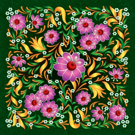 abctract pink floral ornament on green grunge background Vector