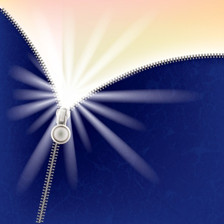 unzipping: abstract blue background with sunlight and zipper Illustration