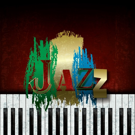jazz music: Abstract cracked background with the word jazz and piano