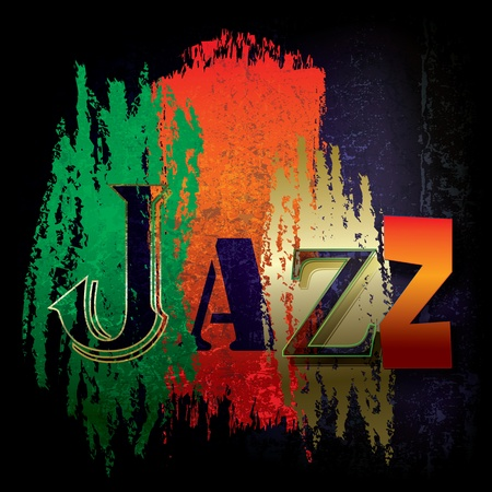 Abstract cracked background with the word jazz Vector