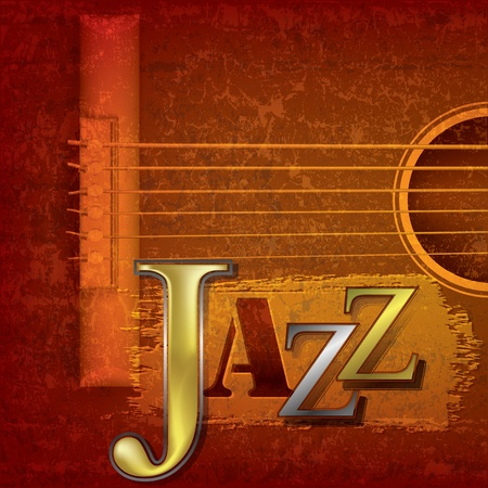 Abstract cracked jazz music background with acoustic guitar Ilustração