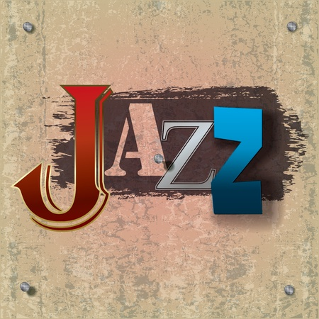Abstract cracked jazz music background with color signs Vector