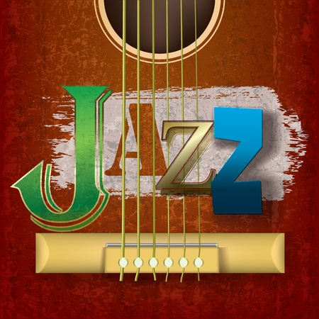 Abstract cracked jazz music background with guitar