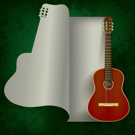 초록 녹색 배경에 어쿠스틱 기타