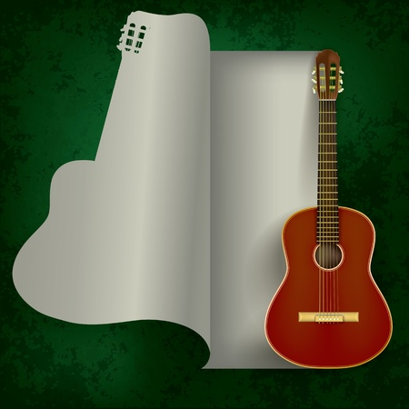 acoustic guitar on abstract grunge green background Ilustração