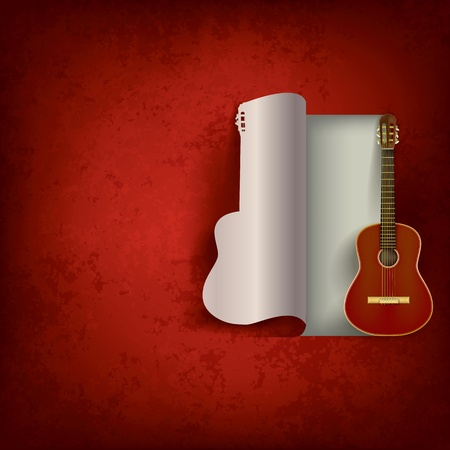 classical guitar: acoustic guitar on abstract grunge red background Illustration