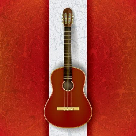 classical guitar: acoustic guitar on abstract grunge white red background Illustration