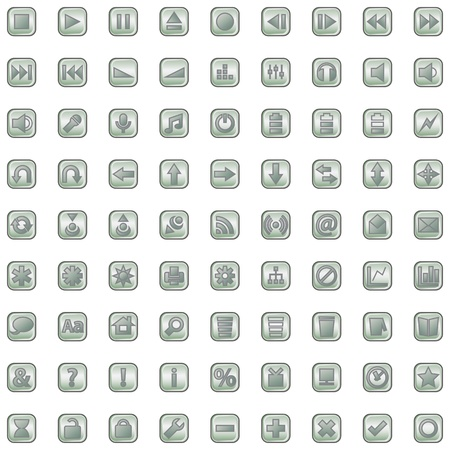 Internet and website grey icons set isolated on white Vector
