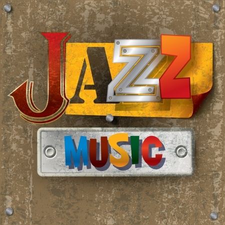 retro music: Abstract cracked background with the word jazz