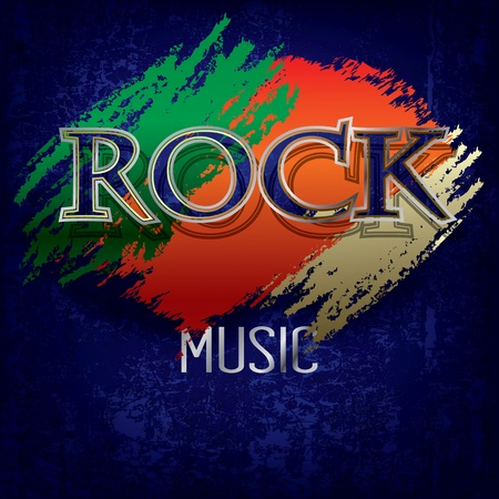 Abstract cracked blue background with the word rock Stock Vector - 11657285