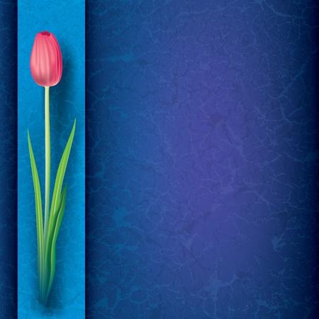 tulipe rouge: abstraite grunge fond floral avec tulipe rouge sur fond bleu