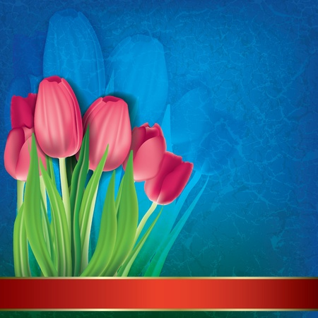 abstract grunge floral background with red tulips on blue Vector