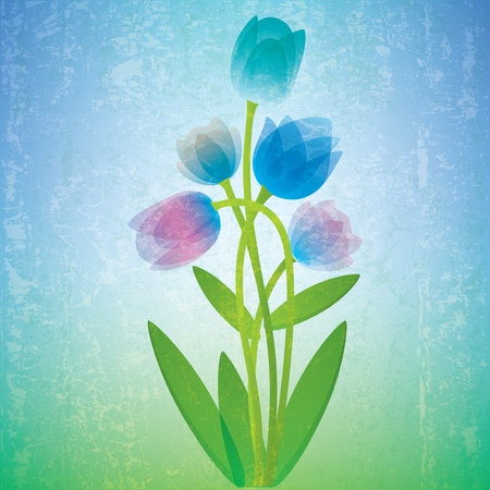 beauty of nature: abstract grunge floral illustration with blue spring flowers Illustration