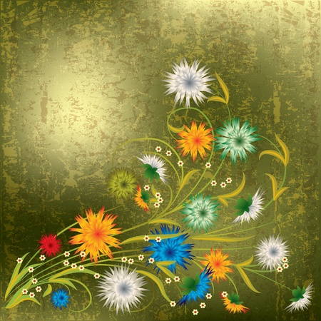 abstract grunge illustration with spring flowers on gold Vector