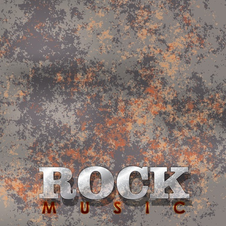 Abstract music rusty background with the word rock Stock Illustratie