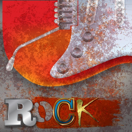 abstract rusty background with red electric guitar Vector