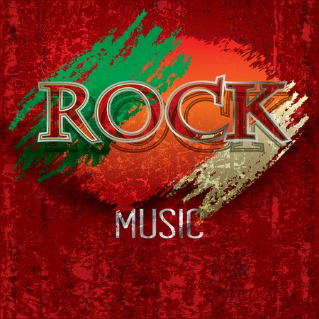 Abstract cracked red background with the word rock Vector