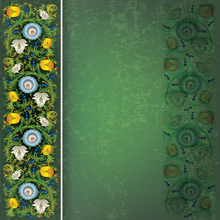 spotted flower: abstract dark green grunge background with spring floral ornament