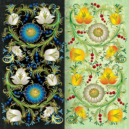 spotted flower: abstract green grunge background with spring floral ornament Illustration