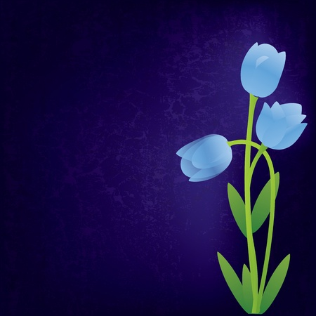 abstract grunge background with blue spring flowers Vector