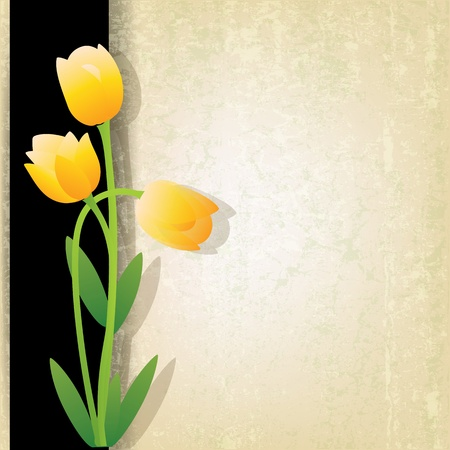 abstract grunge beige background with spring flowers Çizim