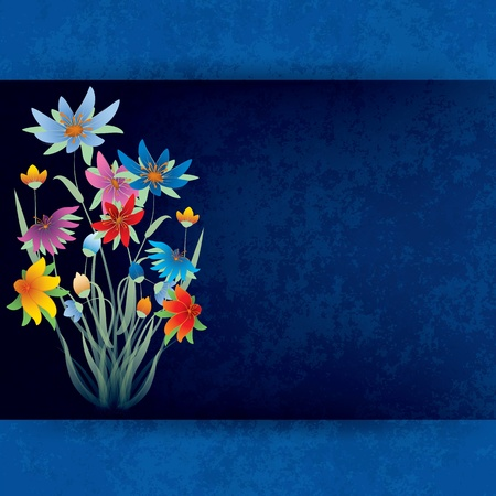 spotted flower: abstract grunge composition with spring flowers on blue background