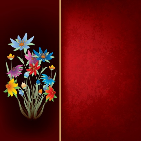 spotted flower: abstract grunge composition with spring flowers on red