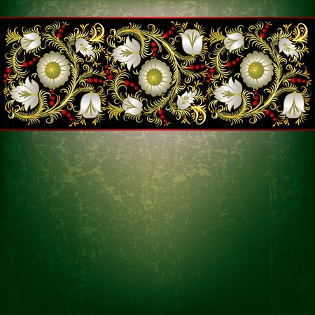 abstract grunge green background with spring floral ornament on black Vector