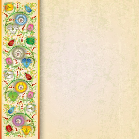 abstract light beige grunge background with spring floral ornament Vector