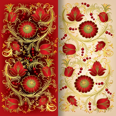 abstract red background with spring floral ornament Vector