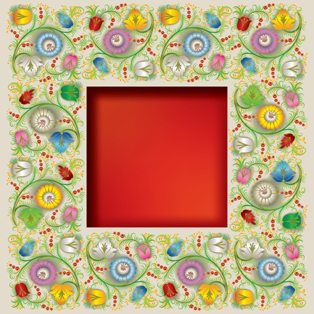 spotted flower: abstract square background with spring floral ornament Illustration